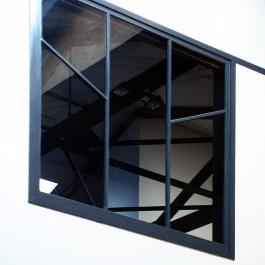 A view from inner space cross ties for Atrium windows
