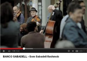 "Still shot from ""Som Sabadell flashmob"" version of the Finale from Beethoven's Ninth Symphony"