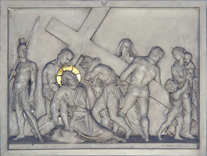 "Stations of the Cross #5, ""Simon of Cyrene carries the cross"", Notre-Dame Basilica, Geneva."
