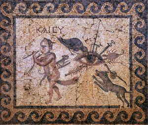 This mosaic from Antioch combines several apotropaic symbols.